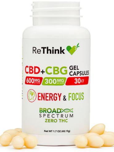 undefined - ReThink Hemp CBD + CBG Energy & Focus Gel Capsules – 600MG (CBD)   300MG (CBG)