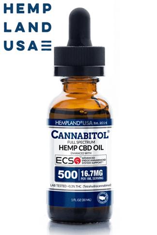 HempLand USA - Cannabitol® Full-Spectrum Hemp CBD Oil—Enhanced With Ecs5™ 500mg - Introductory Pricing!