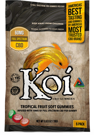Koi CBD - Koi CBD - CBD Edible - Sour Tropical Fruit Gummies - 10mg