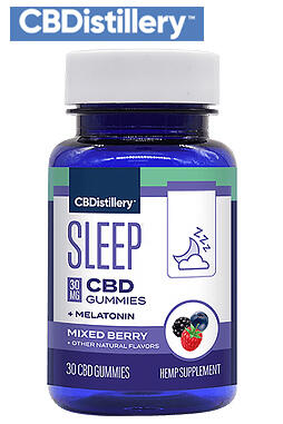 CBDistillery - 30mg Broad Spectrum CBD Sleep Gummies + Melatonin - 30 Count - 0% THC*
