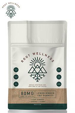 Root Wellness - Root Wellness - CBD Edible - Lemon Ginger Gummies 4 Pack Pouch - 20mg