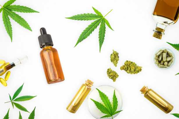 Various Cannabis products, CBD THC oils, pills, paste, gel lotio